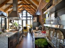 Open-concept Vaulted Rustic Kitchen