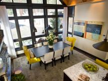 Dining Room With Full Length Windows And Electric Yellow
