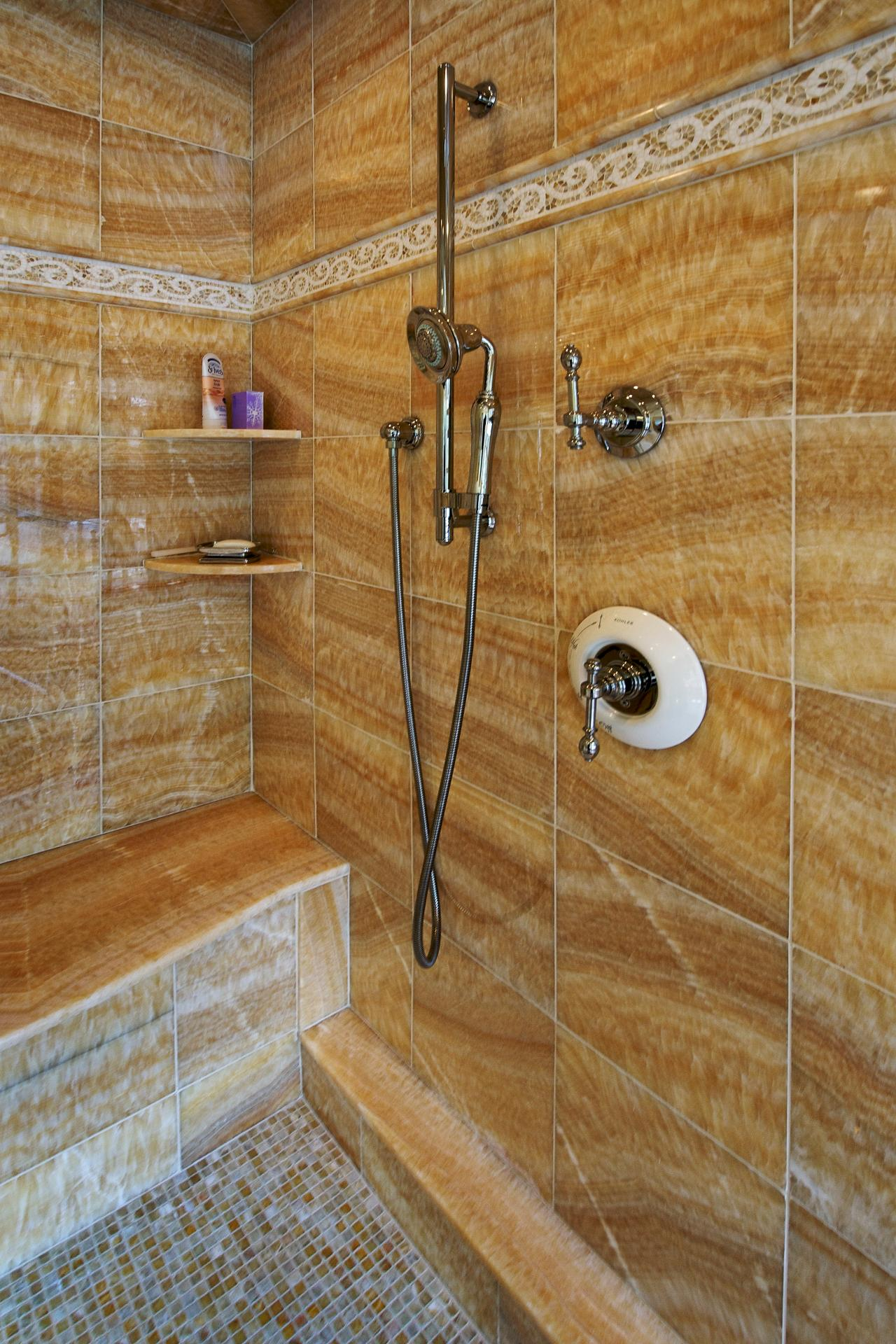 Brown Tiled Shower With Built In Bench Hgtv
