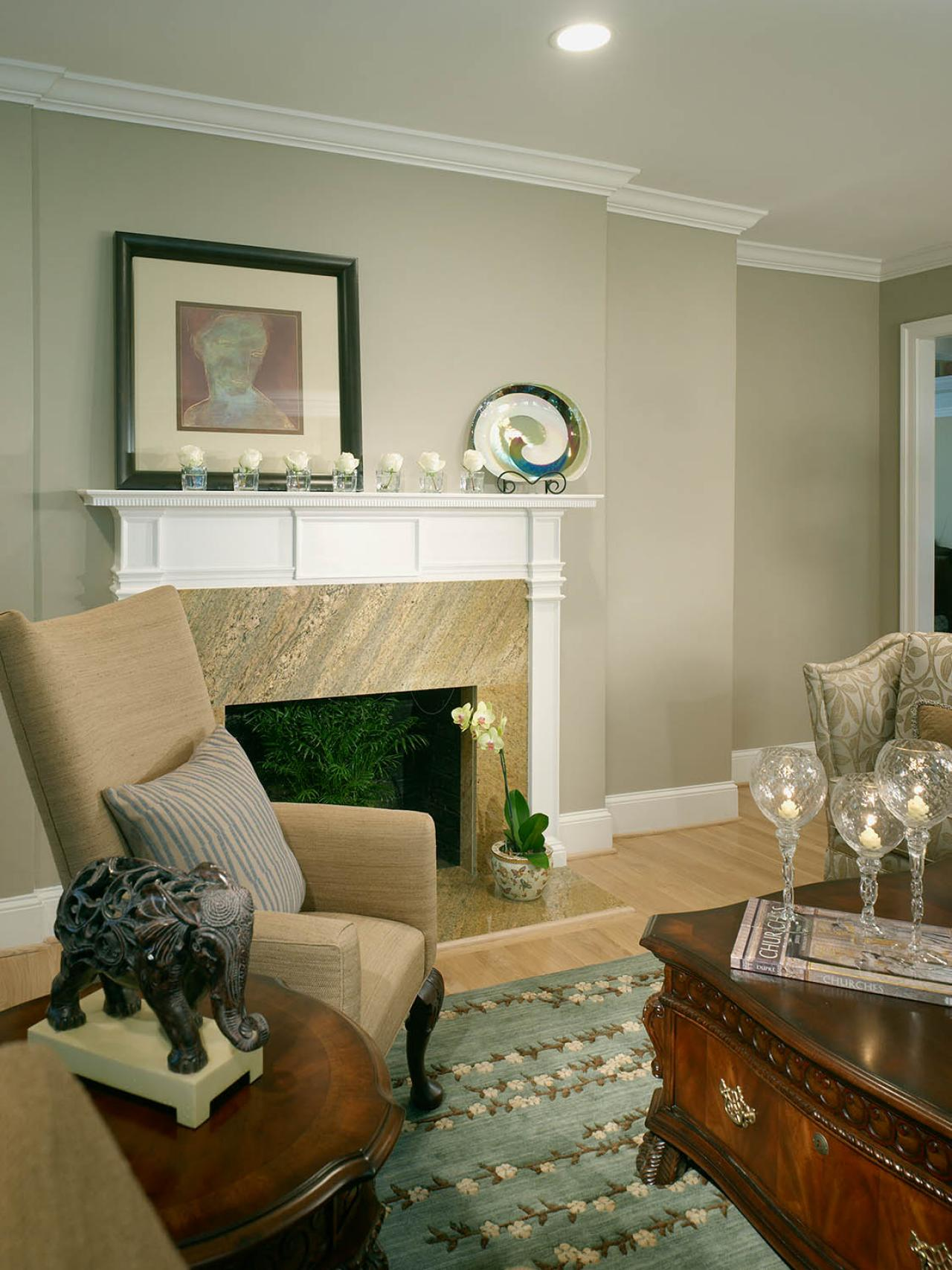 Traditional Neutral Living Room With Fireplace  HGTV