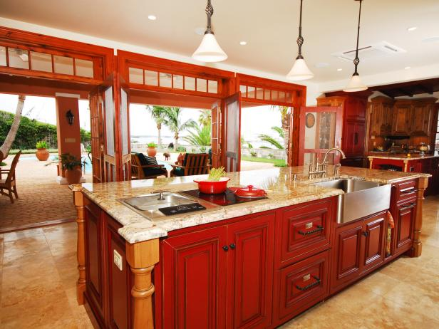 colored kitchen islands pine table island styles colors pictures ideas from hgtv transitional with bright red wood