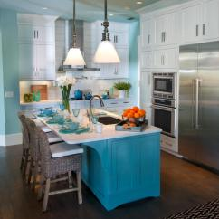 Colored Kitchen Islands Drawer Knobs Painting Pictures Ideas Tips From Hgtv Blue Coastal With Large Island And White Cabinetry