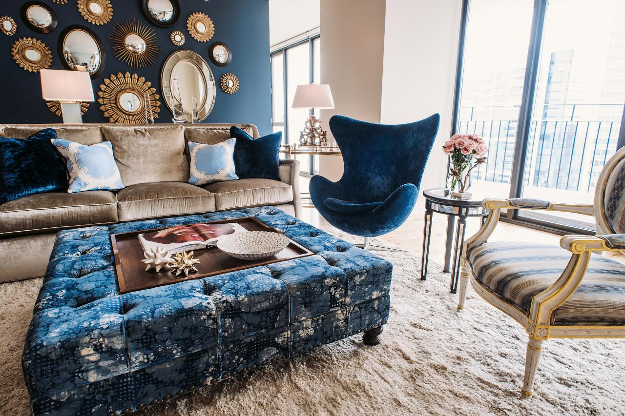 Blue Accent Chair And Ottoman
