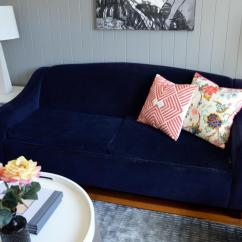 Navy Blue Velvet Sofa Mickey Mouse Flip Out Uk Cool Down Your Design With Furniture Hgtv S Decorating In Charming Gray Living Room