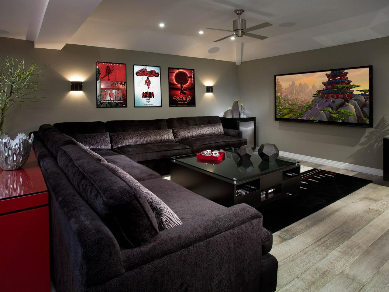 Contemporary Media Room with Upholstered Sectional