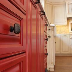 Red Kitchen Cabinets Sink Installation Photo Page Hgtv