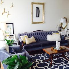 Navy Blue Velvet Sofa Alstons Fabric Samples Cool Down Your Design With Furniture Hgtv S Decorating And White Living Room Tufted