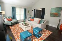 Orange Teal Grey Living Room