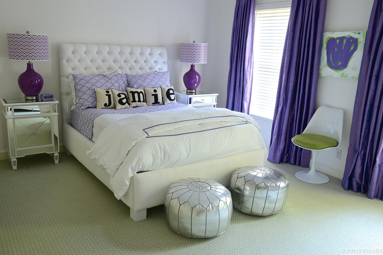 Glam Teen Girl's Bedroom With Purple Patterns and Silver