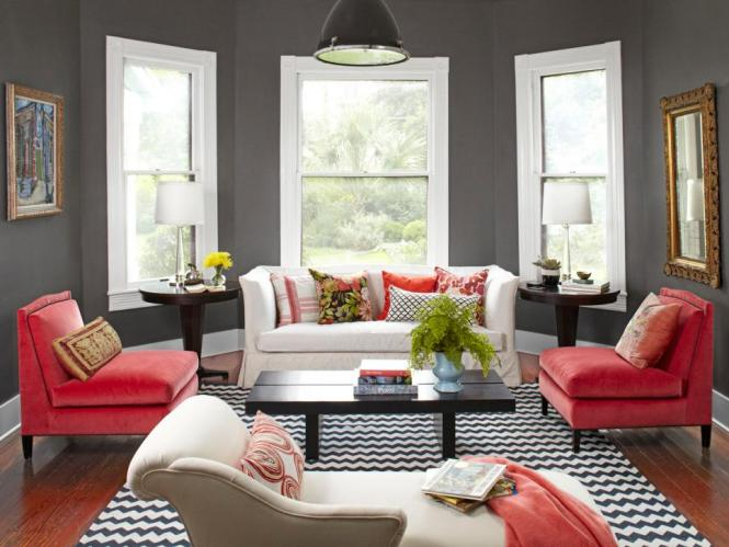 Living Room Red Ideas With Black Sofa And Carpet Lamp