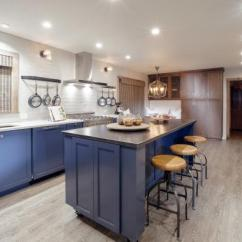 Kitchen Island Stool Brick Tiles For Backsplash In With Stools Hgtv Fresh Remodel Blue Cabinets And Wide Plank Hardwood Floors