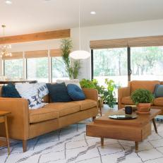 leather furniture ideas for living rooms red white and black room photos hgtv neutral midcentury modern with brown sofas