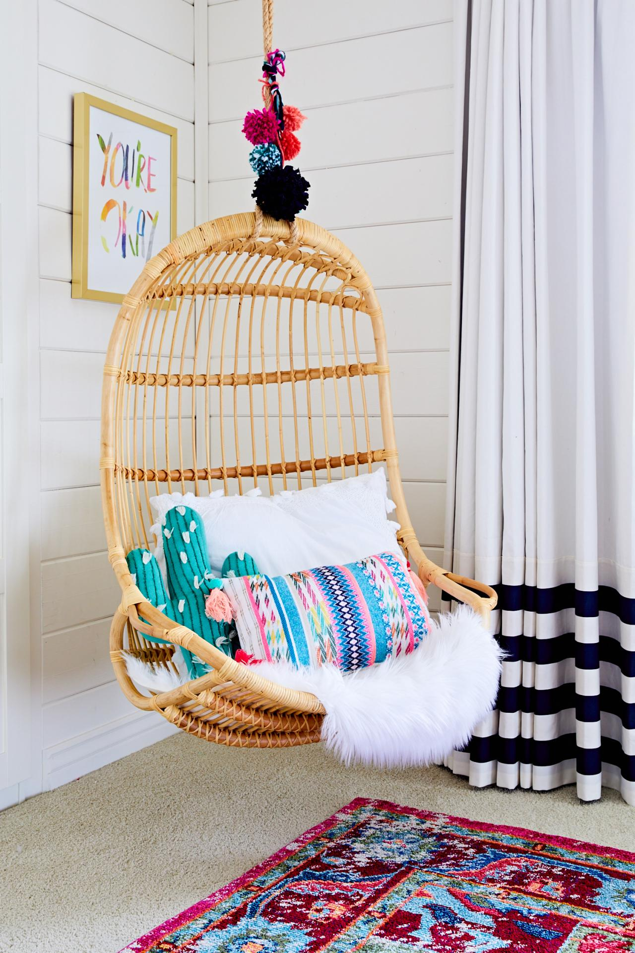 chair swings bedroom universal covers ebay rattan swing chairs are the cool boho look of summer