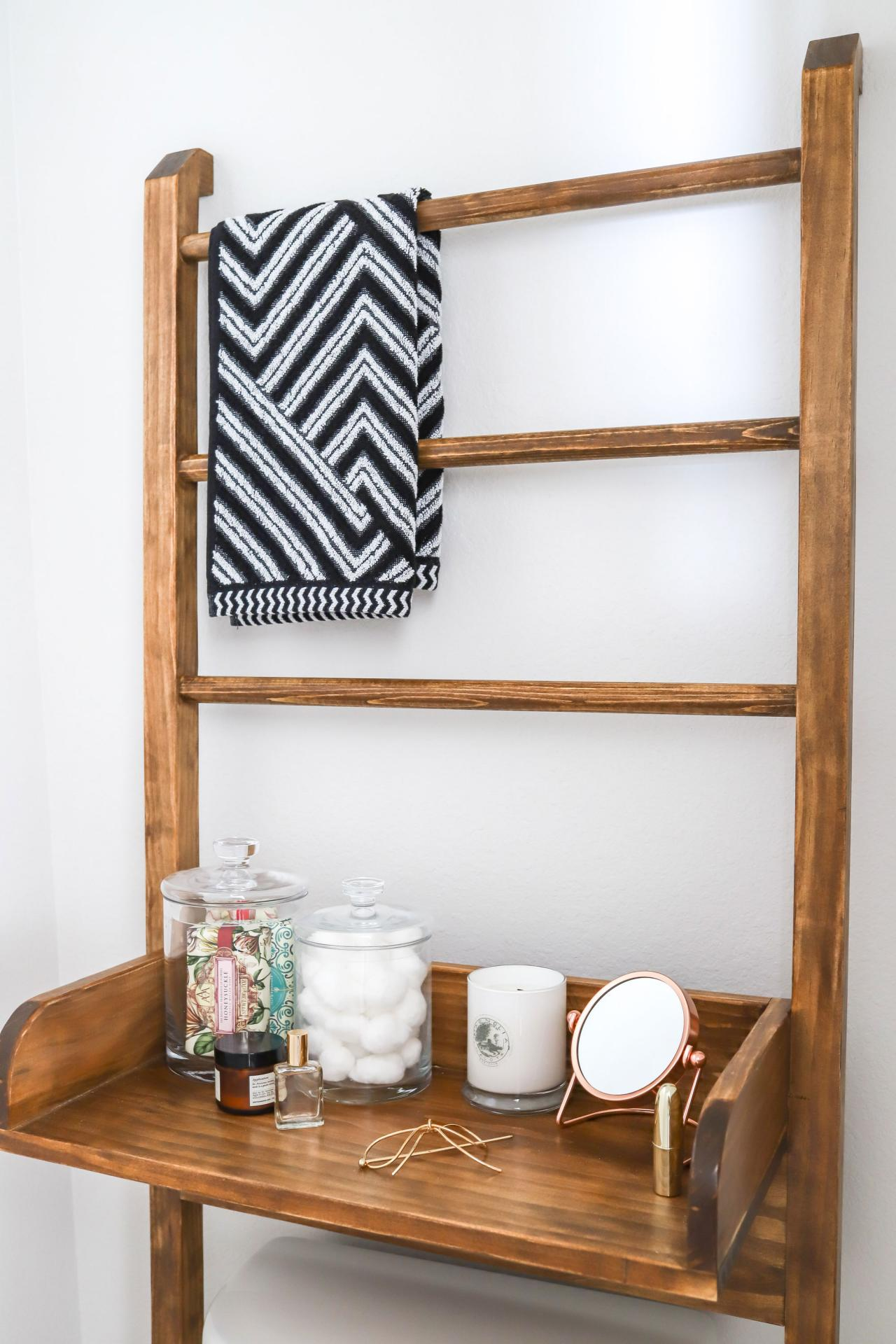 DIY Leaning Ladder Shelf for the Bathroom  Room Makeovers to Suit Your Life  HGTV