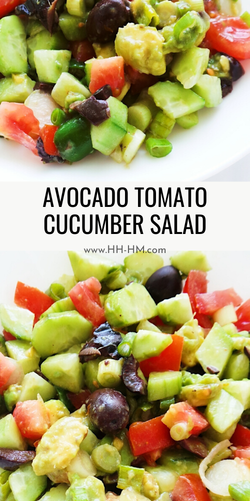 Tomato, cucumber avocado salad! An even better version of Greek salad, this avocado salad is refreshing, crisp, but also creamy. A healthy side dish that goes with anything!