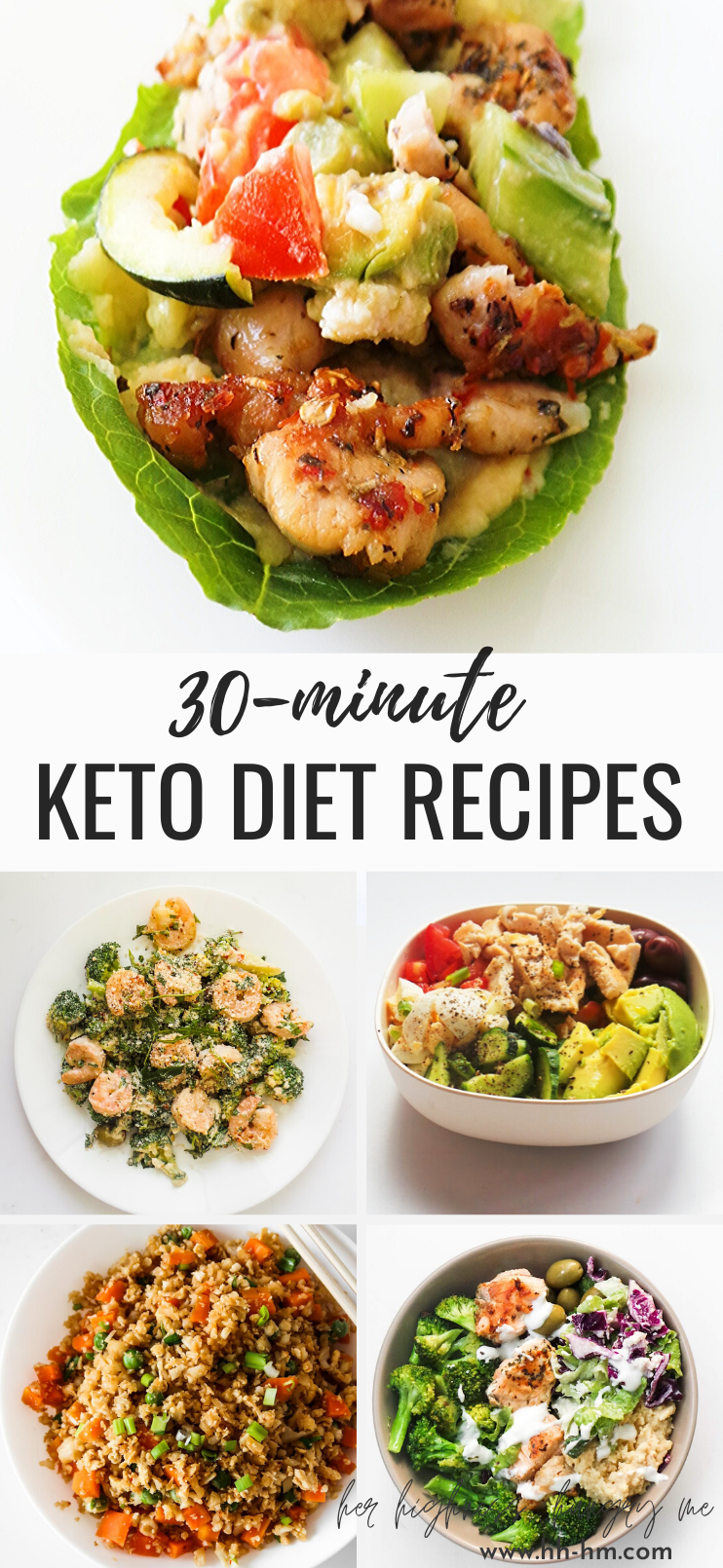 13 low carb dinner recipes to make this moth! These easy Keto diet recipes are delicious, gluten-free and great for lunch or dinner. This collection features healthy dinner recipes with chicken, avocado, ground beef, shrimp, salmon and so much more! The recipes are also great for meal planning and meal prep!