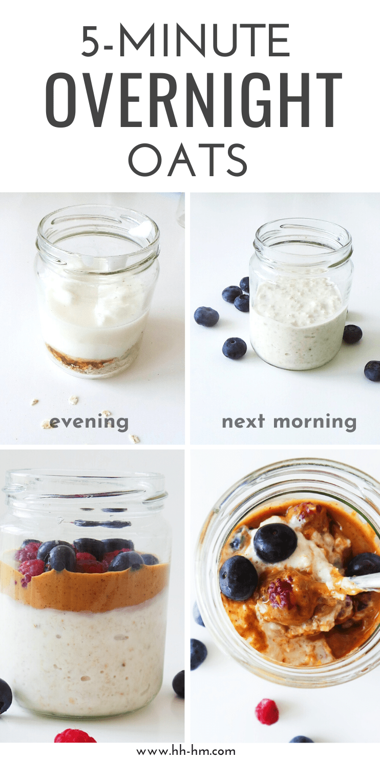 5-minute healthy overnight oats - super easy healthy breakfast to eat on the go! Make it in the evening and eat the next morning!