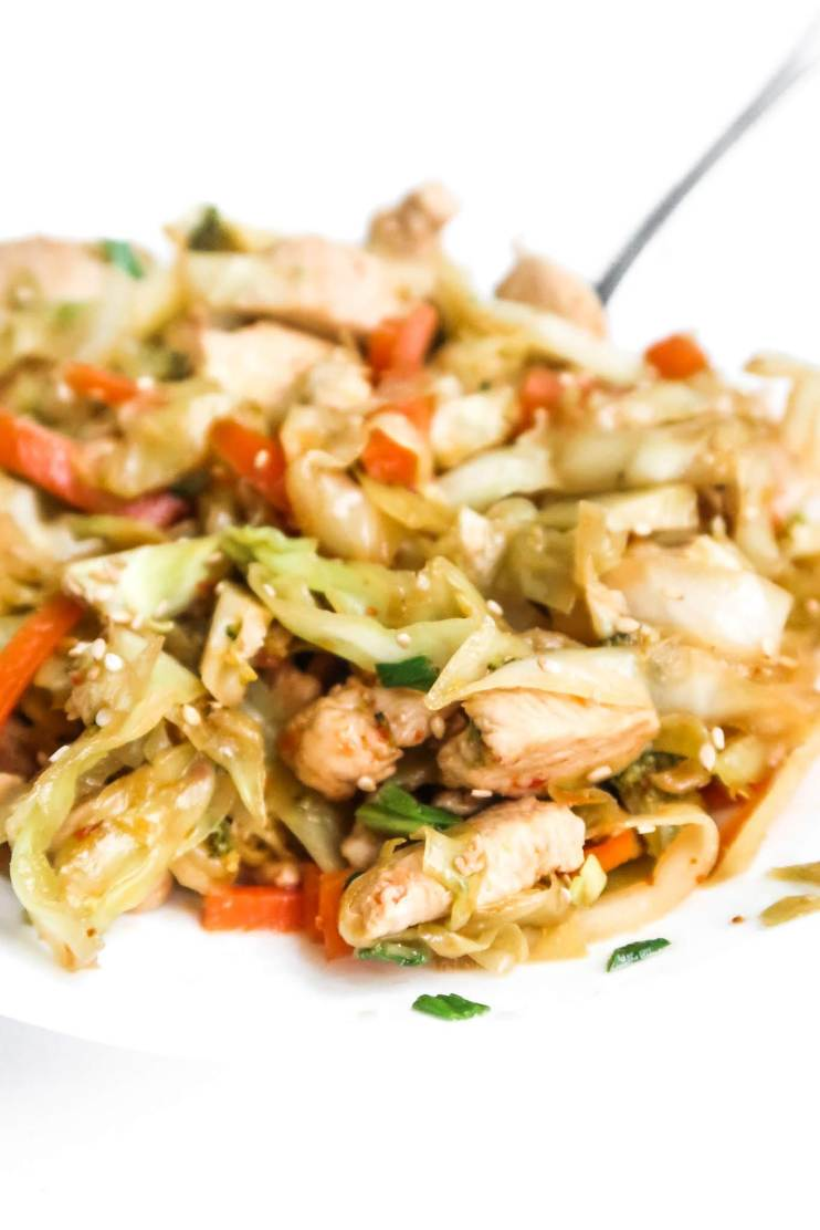 Easy egg roll in a bowl with chicken! This healthy egg roll recipe is gluten-free, low carb and keto-friendly. It's great for dinner and super healthy too!