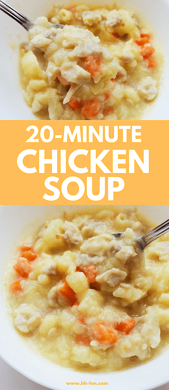 Easy homemade chicken soup with noodles! This tasty thick chicken soup is loved by kids and grown-ups! 7 simple ingredients, one pot and and 20 minutes! Perfect for lunch or dinner.
