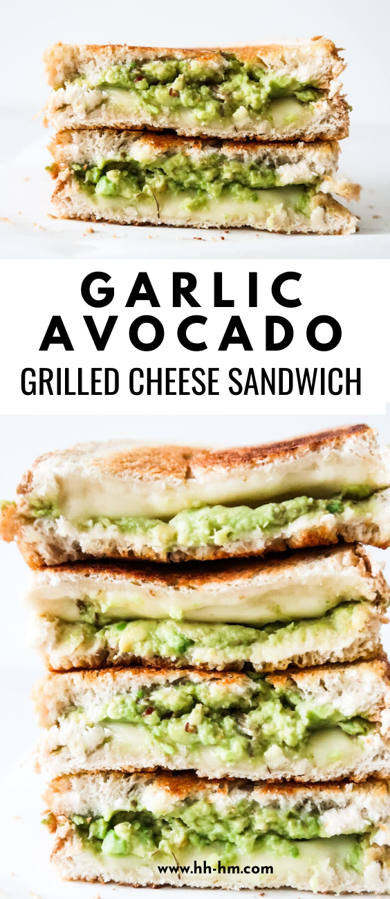 Avocado Garlic Grilled Cheese Sandwich! Serve with a salad for an easy healthy dinner or lunch!
