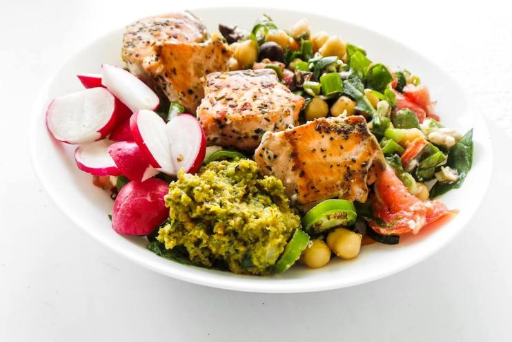 Healthy Salmon Bowls For Dinner! A delicious salmon recipe with a fresh chickpea salad and your favorite sauces - hummus, avocado or tzatziki. This one is a healthy Mediterranean diet dinner option that make you want to eat clean!