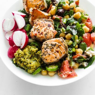 Healthy Salmon Bowls With Chickpea Salad (Meal Prep Option)