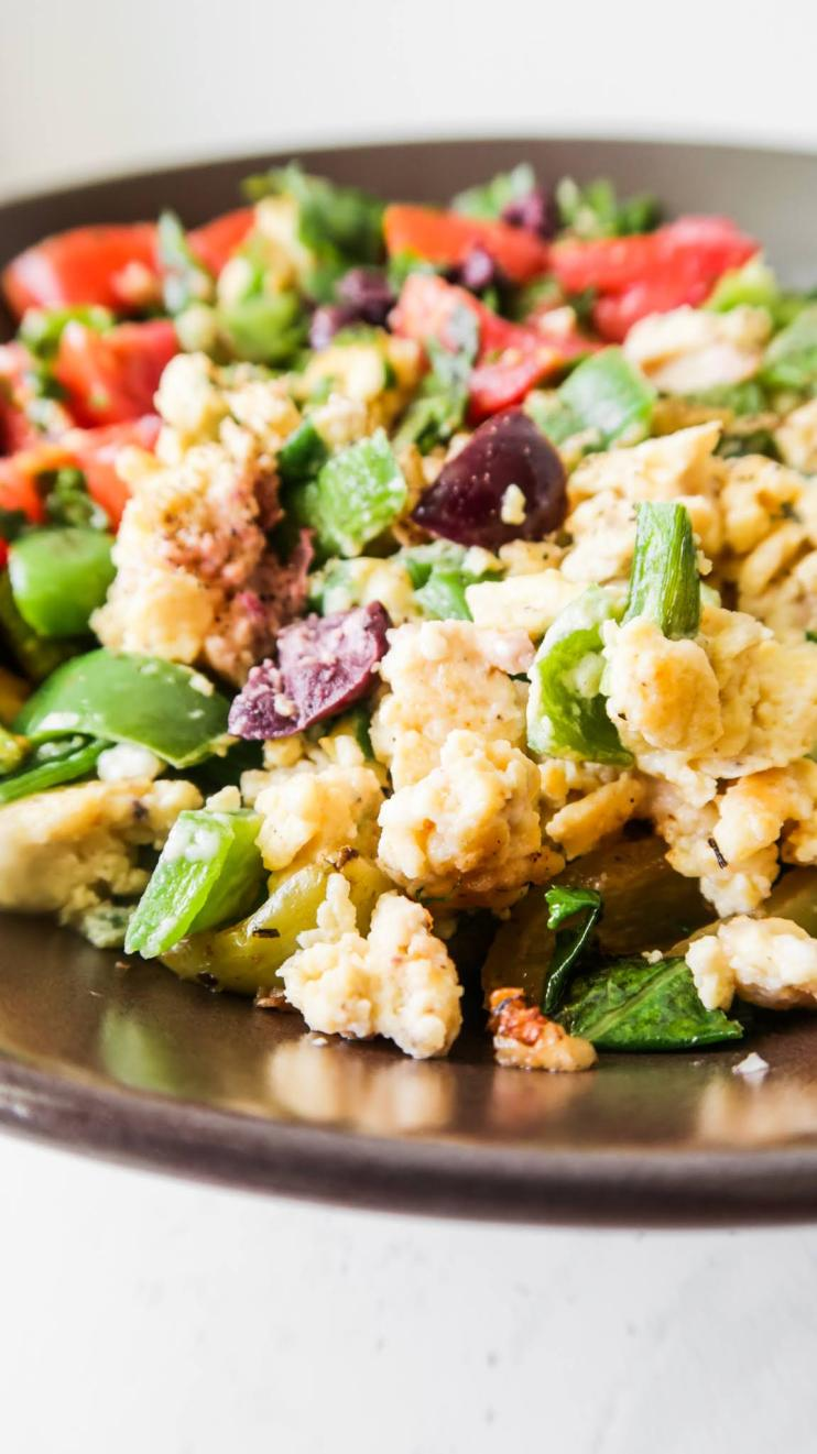 Mediterranean Breakfast Bowl! This healthy egg breakfast is super tasty and quite easy to make. You'll need some eggs, feta cheese, olives and the vegetables that you like!
