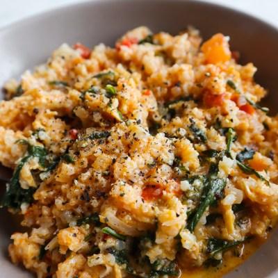 15-Minute Pesto Chicken Cauliflower Rice Recipe | Low Carb Dinner Idea