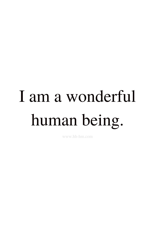 I am a wonderful human being