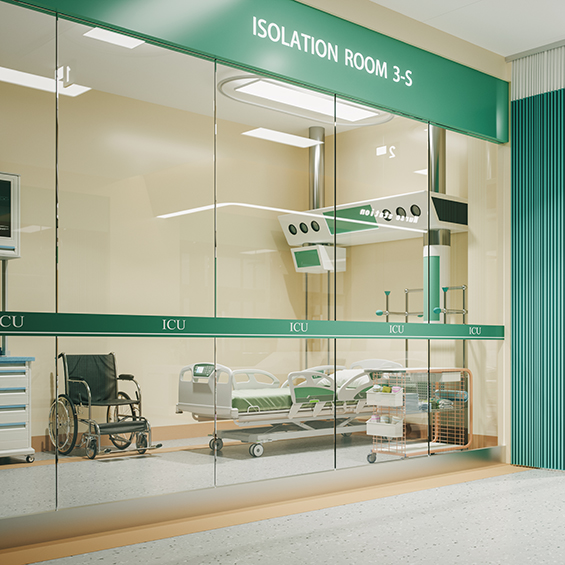 Interior of an isolation room in a hospital