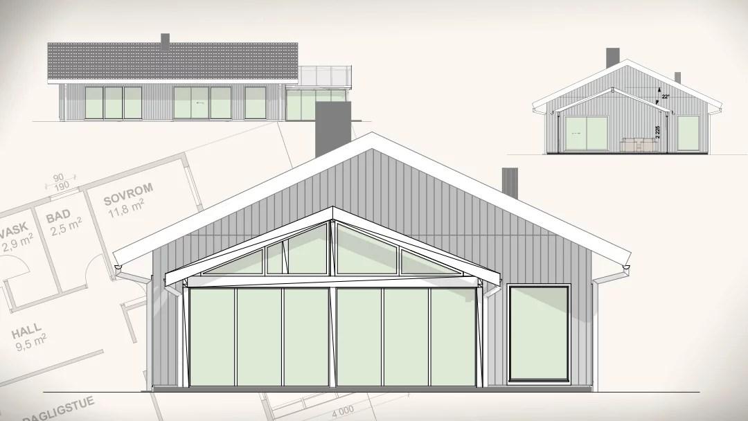 Bilde av arkitekttegninger, byggesakstegninger og hustegninger som du trenger å sende til din kommune