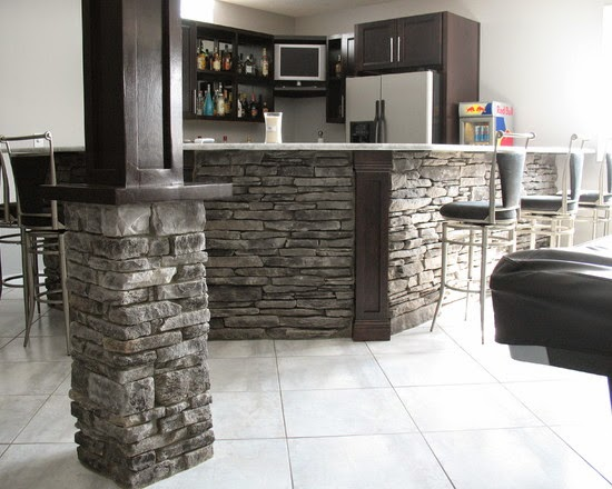 living room desings decor ideas with brown couches interior pillars stone & brick - hearth and home ...