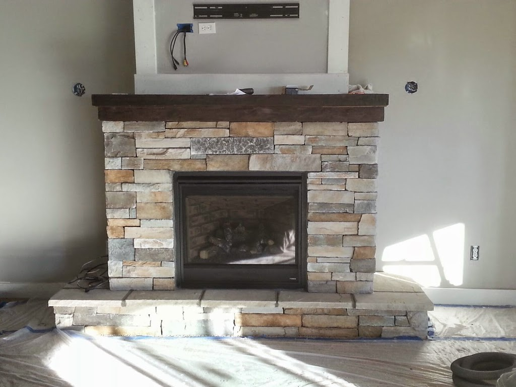 Fireplace Ledgestone Black Rundle