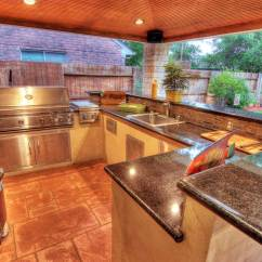 Outdoor Kitchen Covers Overhead Lights Patio Cover With Brick Columns And Houston
