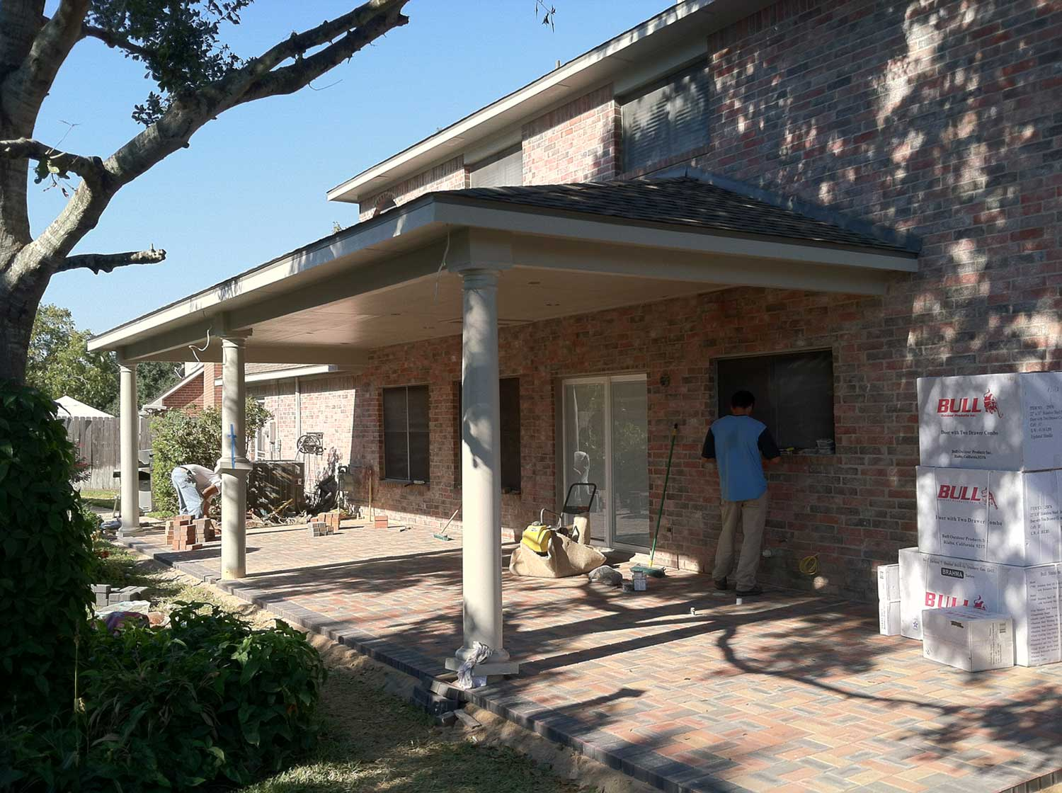Patio Cover with Paver Floor and Outdoor Kitchen  HHI