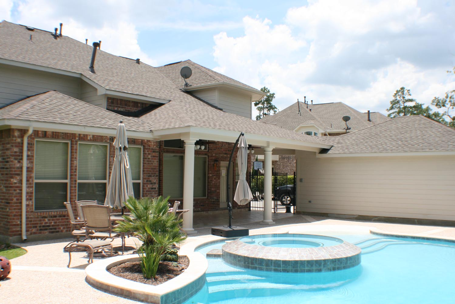 Patio Cover with Natural Stone Floor In Houston Texas