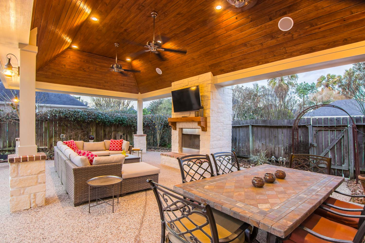 Patio Cover and Fireplace Coles Crossing  HHI Patio Covers