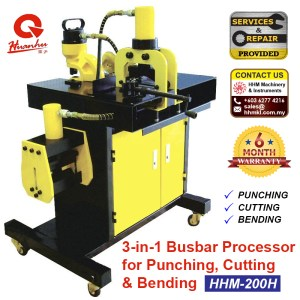 3-in-1 Busbar Processor for Punching, Cutting & Bending HHM-200H