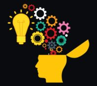Illustration of bright light bulb and colorful cogs and gears coming out of brain.Concept of new ideas, human brain, and thinking.