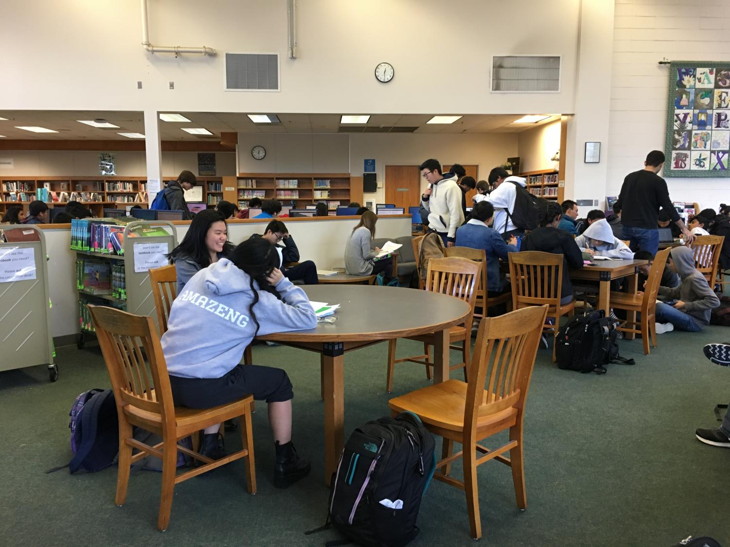 Students use the library to hang out and get work done.