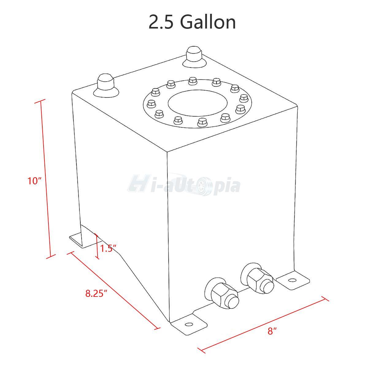 2 5 Gallon 10l Aluminum Race Drift Fuel Cell Tank With