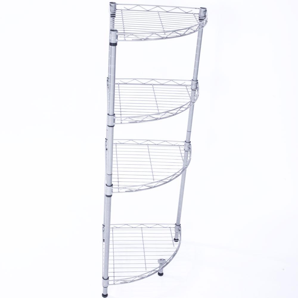 Corner 4 Tier Layer Wire Rack Shelving Shelf Storage Home