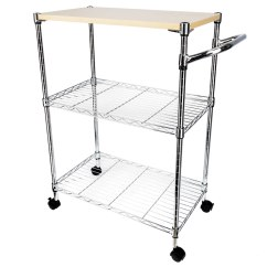 Kitchen Trolley Cart Bbq Outdoor Kits 3 Tier Rolling Island Rack Basket Shelf Stand Workstation