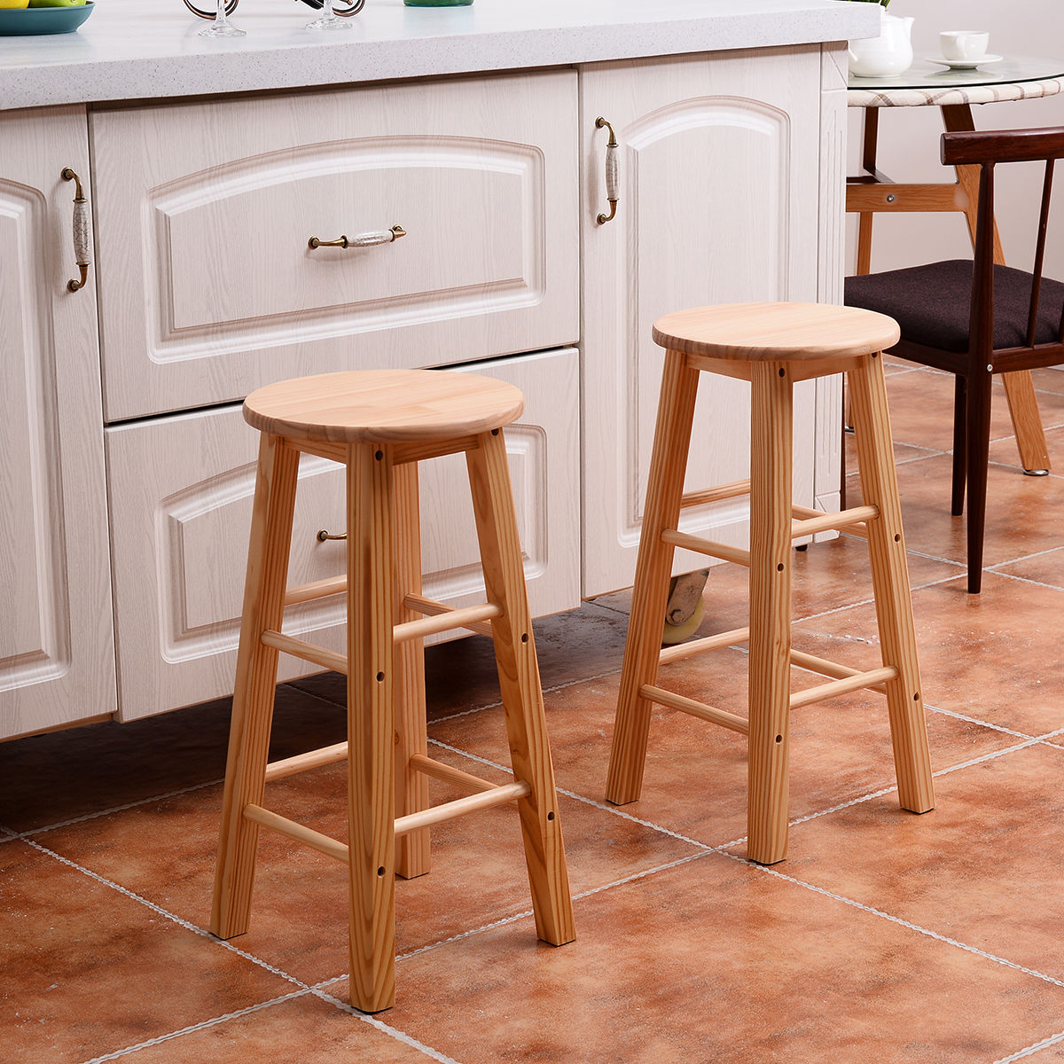 24 inch counter chairs church direct set of 2 wood stools bar dining kitchen
