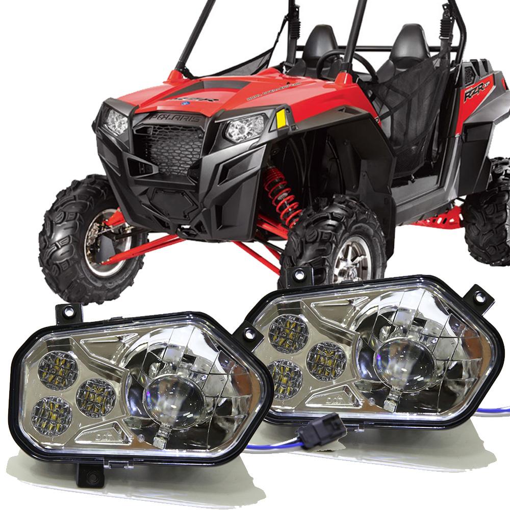 hight resolution of 11 14 led conversion headlights kit for polaris rzr 800 rzr 900 xp atv utv