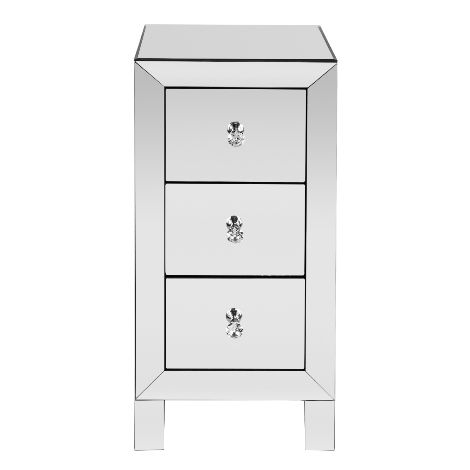 Details About Mirrored 3 Drawer End Table Sofa Table Silver Glass Nightstand Furniture