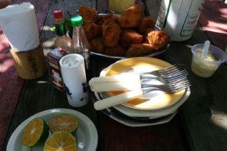 Almoço na Barra do Monjolo, no rio Grande