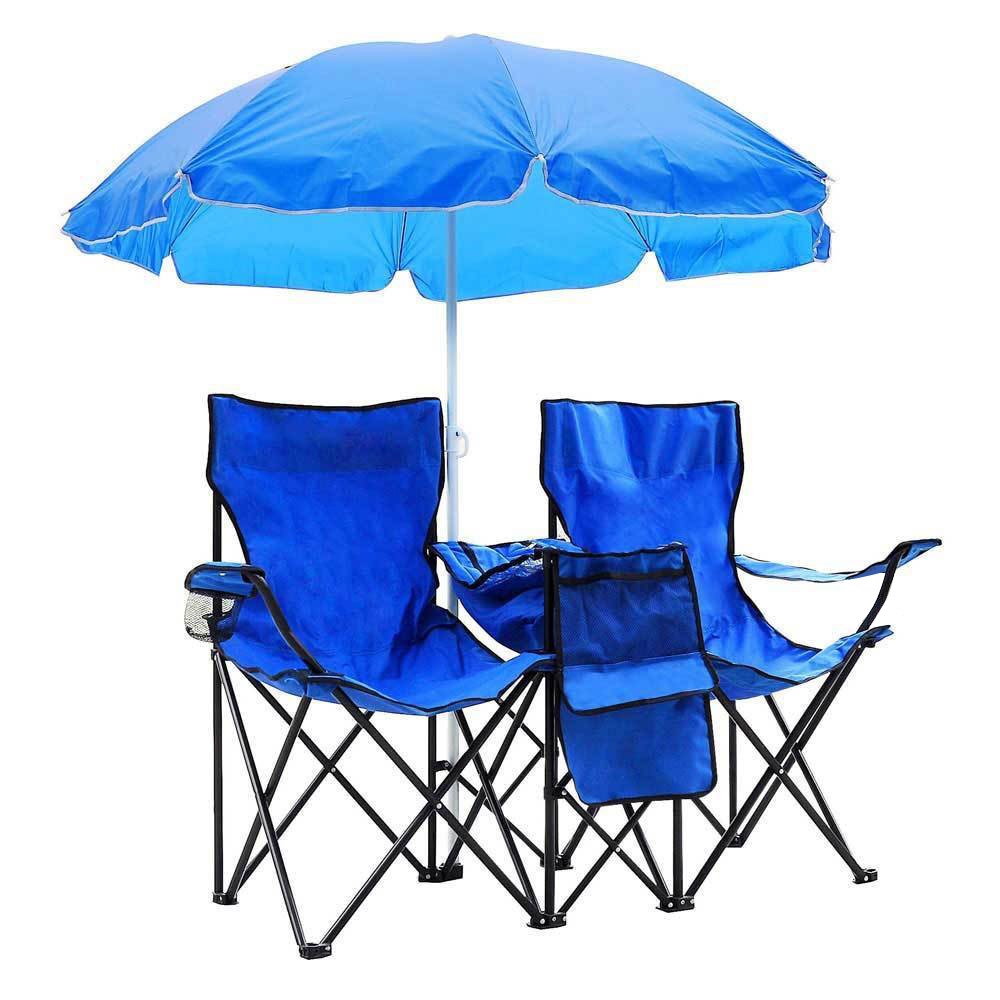 Beach Chairs With Umbrella Details About Fold Up Folding Picnic Double Chair Umbrella Table Cooler Beach Camping Chairs