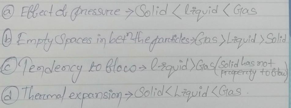 arrange solids liquid and gases in the following order (a