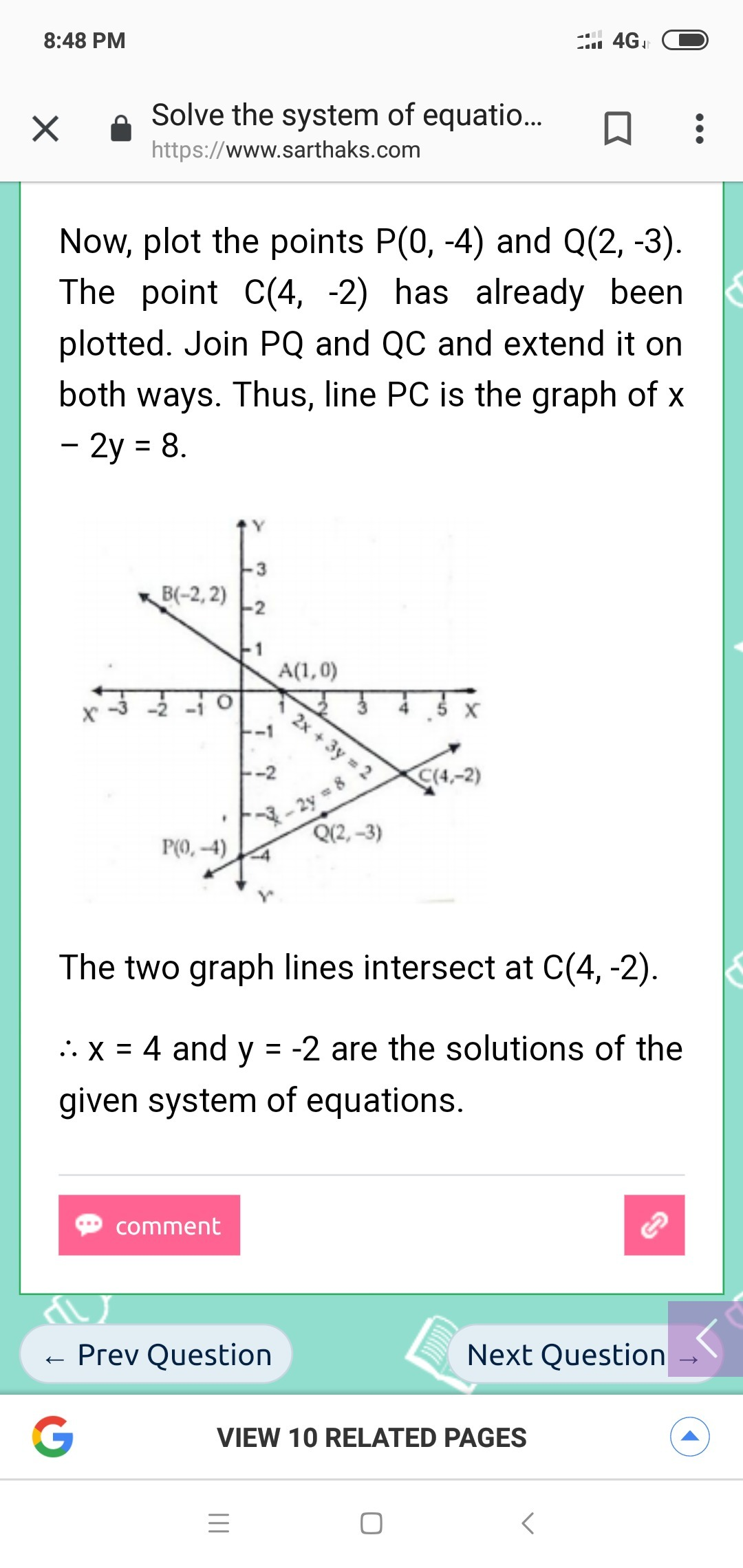 Solve The Following System Of Equations By Graphing X 2y 8